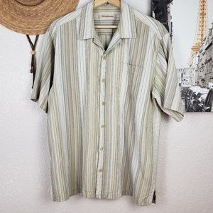 Tommy Bahama Silk Striped Camp Shirt Large